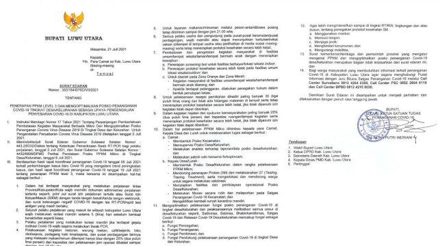 Surat Edaran Bupati Luwu Utara tentang Penerapan PPKM Level 3 di Wilayah Kabupaten Luwu Utara.