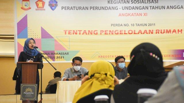 Anggota DPRD Makassar, Budi Hastuti sosialisasikan Perda Pengelolaan Rumah Kost, di Hotel Pessona, Jl Mappanyukki, Kamis (19/8/2021).