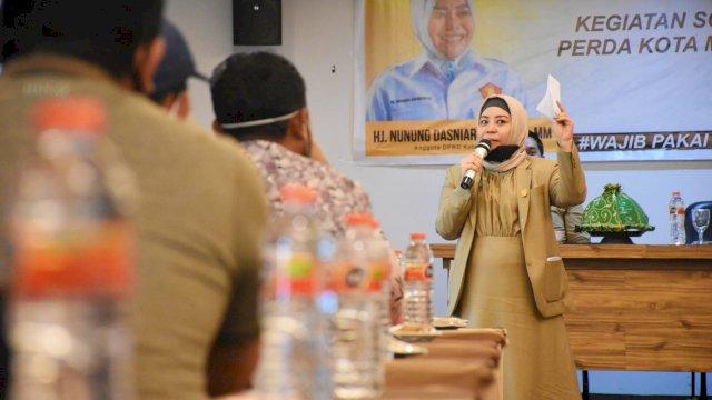 Anggota DPRD Makassar, Nunung Dasniar sosialisasikan Perda Pengelolaan Rumah Kost, di Hotel D'Maleo, Rabu (25/8/2021).