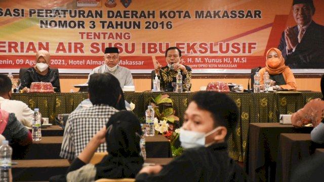 Anggota DPRD Makassar, HM Yunus sosialisasikan Perda ASI Eksklusif, di Hotel Almadera, Senin (9/8/2021).