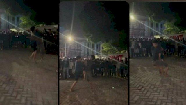 Dokumen: Tangkapan layar suasana pertarungan tangan kosong alias tarung bebas ilegal yang diduga di Kota Makassar. (int)