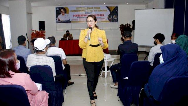 Anggota DPRD Sulsel, Andi Debbie Purnama Rusdin melakukan Sosialisasi Penyebarluasan Perda Provinsi Sulsel No 3 Tahun 2018, Tentang Pembangunan Kepemudaan, Minggu (19/9/2021).