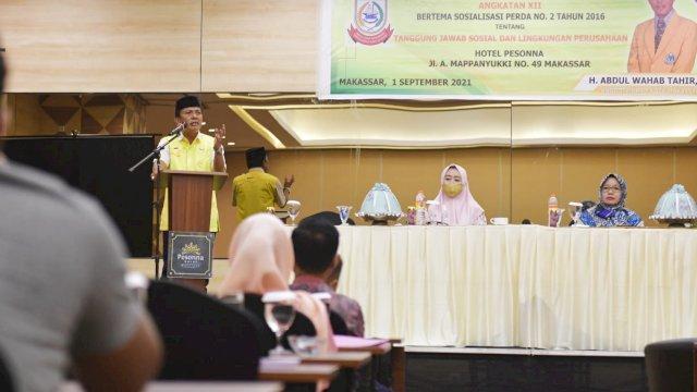 Ketua Komisi D DPRD Makassar, Abd Wahab Tahir sosialisasikan Perda Tanggung Jawab Sosial dan Lingkungan Perusahaan (TSLP) di Hotel Pessona, Rabu (1/9/2021).