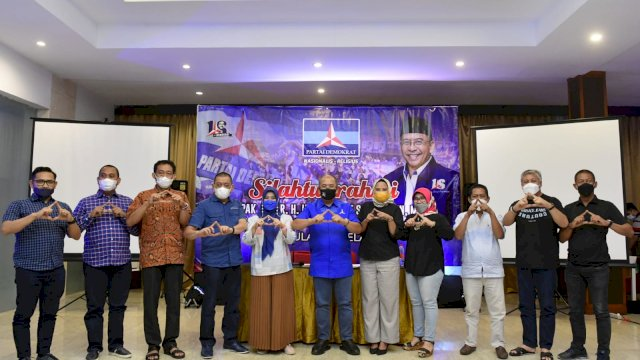 Bupati Pinrang, Andi Iwan Hamid saat silaturahmi bersama Ilham Arief Sirajuddin (IAS), di Swisbell Hotel Losari, Kamis (2/9/2021).