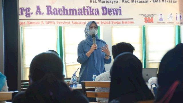Ketua Komisi B DPRD Sulsel, Andi Rachmatika Dewi menggelar konsultasi publik Sistem Pertanian Organik, di Kedai Papaong, Minggu (5/9/2021).