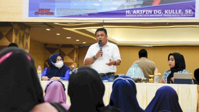 Anggota DPRD Makassar, Arifin Dg Kulle sosialisasikan Perda Pemberian ASI Ekslusif, di Hotel Pessona, Jumat (17/9/2021).