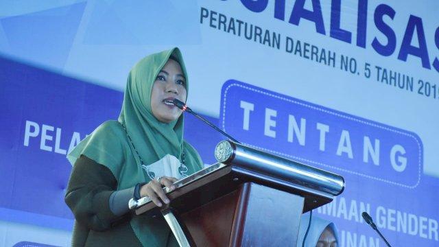 Anggota DPRD Makassar, Fatma Wahyuddin sosialisasikan Perda Pengarusuramaan Gender (PUG), di Hotel Aston, Sabtu (18/9/2021).