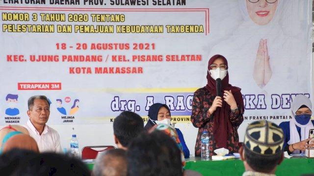 Ketua Komisi B DPRD Sulsel, Andi Rachmatika Dewi sosialisasikan Perda Pelestarian dan Pemajuan Kebudayaan tak Benda, di Gedung Muhammadiyah, Jl Gunung Lompo Battang Makassar, Sabtu (18/9/2021).