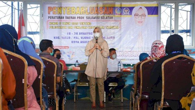 Ketua Komisi B DPRD Sulsel, Andi Rachmatika Dewi sosialisasikan Pelestarian dan Pemajuan Kebudayaan Tak Benda, di Kecamatan Tallo, Minggu (19/9/2021).