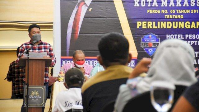 Ketua Fraksi NasDem Makassar, Ari Ashari Ilham sosialisasikan Perda Perlindungan Anak, di Hotel Pessona, Rabu (22/9/2021).