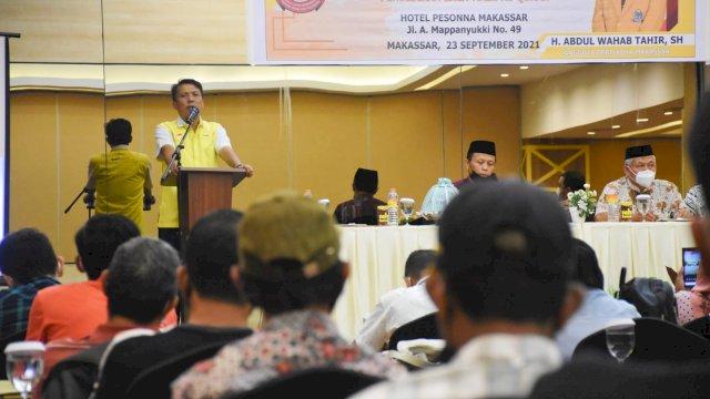 Ketua Komisi D DPRD Makassar, Abd Wahab Tahir sosialisasikan Perda Baca Tulis Al-Qur'an, di Hotel Pessona, Kamis (23/9/2021).