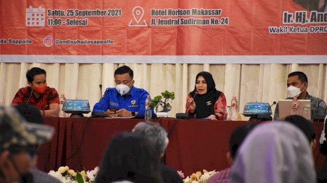 Wakil Ketua DPRD Makassar, Andi Suhada Sappaile sosailisasikan Perda Kepemudaan, di Hotel Horizon, Sabtu (25/9/2021).
