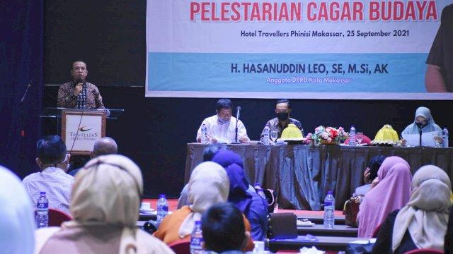 Anggota DPRD Makassar, Hasanuddin Leo sosialisasikan Perda Pelestarian Cagar Budaya, di Hotel Travelers, Sabtu (25/9/2021).