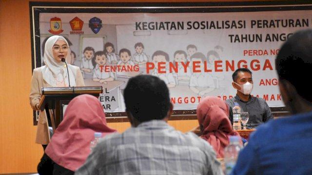 Anggota DPRD Makassar, Budi Hastuti sosialisasikan Perda Penyelenggaraan Pendidikan, di Hotel Almadera, Sabtu (25/9/2021).