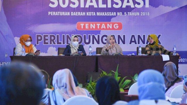 Anggota DPRD Makassar, Fatma Wahyuddin sosialisasikan Perda Perlindungan Anak, di Hotel Aston, Minggu (26/9/2021).