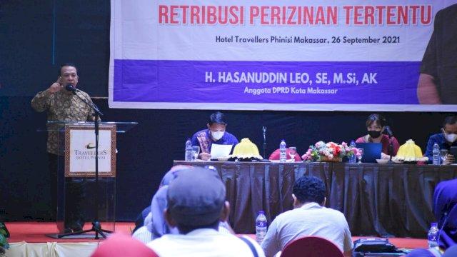 Legislator PAN Makassar, Hasanuddin Leo sosialisasikan Perda Retribusi Perizinan Tertentu, di Hotel Travelers, Minggu (26/9/2021).