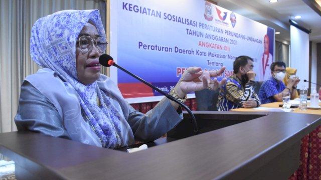 Legislator Perindo Makassar, Hj Kartini sosialisasikan Perda Pengelolaan Sampah, di Hotel Almadera, Kamis (30/9/2021).
