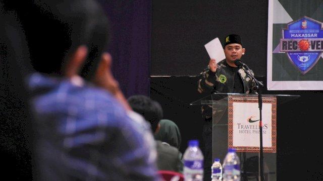 Anggota DPRD Makassar, Rachmat Taqwa Quraisy sosialisasikan Perda Kepemudaan, di Hotel Travelers, Senin (13/9/2021).