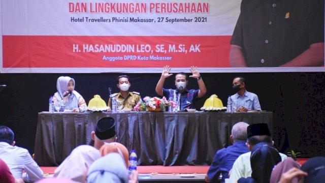 Anggota DPRD Makassar, Hasanuddin Leo sosialisasikan Perda Tanggung Jawab Sosial dan Lingkungan Perusahaan (TSLP) di Hotel Traveler Phinisi, Senin (27/9/2021).