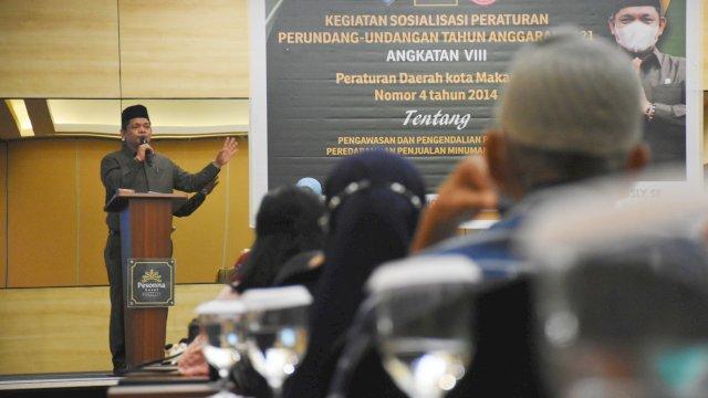 Anggota DPRD Makassar, Fasruddin Rusli sosialisasikan Perda Pengawasan, Pengendalian, Pengadaan, Peredaran dan Penjualan Minuman Beralkohol (Minol), di Hotel Pessona, Rabu (29/9/2021).
