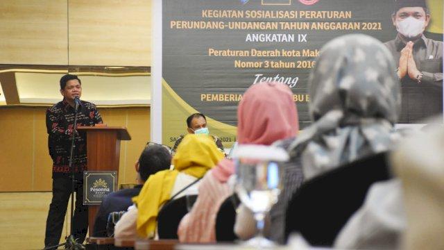 Anggota DPRD Makassar, Fasruddin Rusli (Acil) sosialisasikan Perda Pemberian ASI Ekslusif, di Hotel Pessona, Sabtu (2/10/2021).
