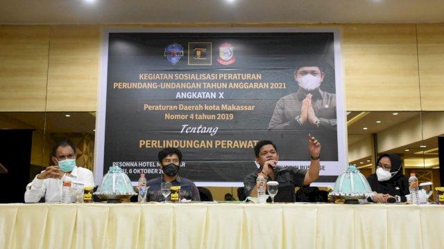Anggota DPRD Makassar, Fasruddin Rusli sosialisasikan Perda Perlindungan Perawat, di Hotel Pesonna, Rabu (6/10/2021).