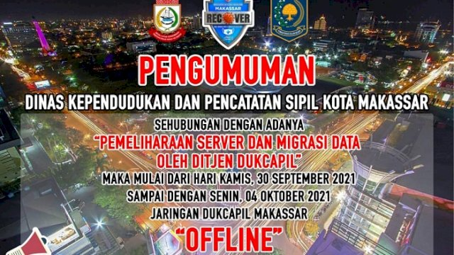 Jaringan Offline, Aktivitas Pelayanan Disdukcapil Makassar Dihentikan Sementara